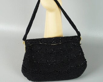 Vintage Walborg Handbag Black Beaded Evening Purse