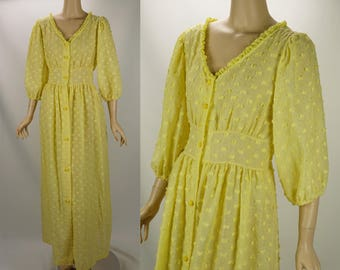 Vintage Bright Yellow Chenille Robe Dress Sz M B38 W32