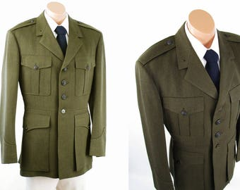 United States Marine Corp 1964 Military Jacket USMC Serge Green Wool S W Rice C42