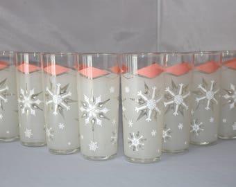 Set of 10 Pink & White Frosted Snowflake Glasses - Mid Century Barware - Atomic Diamond Design - Collins Tumblers - Anchor Hocking - 16 oz