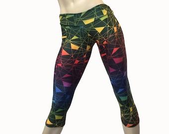 SALE s/m - Yoga Pants - Workout Clothes - Hot Yoga - Fitness Pants - Rave - Rainbow - Low Rise - Capri - Plus Size Workout - SXY Fitness