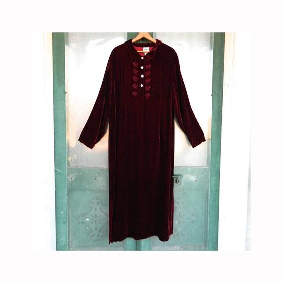 Kiki Lush Velvet Dress -XL- Deep Burgundy Rayon/Silk