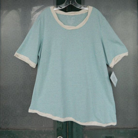 Lur Silverbell Tee -L/XL- Sky Stripe Recycled Cotton and Polyester NWT