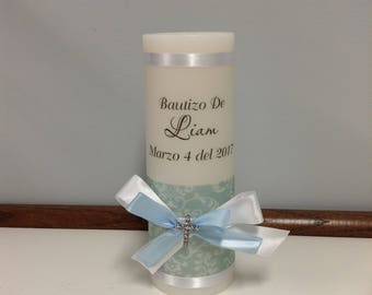 Damask design personalized Baptism Candle with Cross