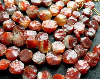 raw carnelian beads, rough carnelian beads, carnelian strand, orange agate beads, carnelian stone beads