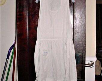 Vintage 40s White Cotton Tunic Granny Apron L Nurses Uniform
