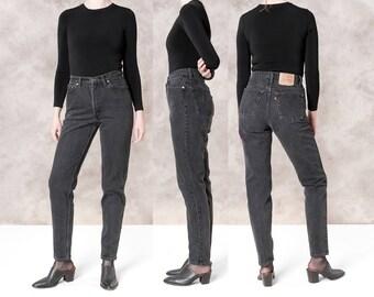 LEVIS 512 BLACK HIGH waist jeans vintage Denim 90s Skinny jean pants / size 8 9 / 30 waist / better Stay together