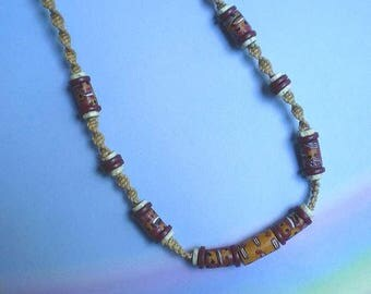 Vintage 70s Macrame and Trade Bead Choker Necklace