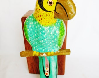 vintage paper mache parrot mexican bird hand crafted sculpture