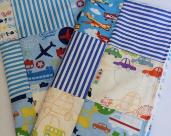 Transportation Baby Patchwork Minky Quilt -  Cars, Bus, Airplanes, Bicycles, Tractors, I Spy, Stripes, Primary Colors Nursery Blanket