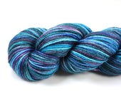 Aurora Borealis--hand dyed sock weight yarn, BFL and Silk, (438yds/100gm)