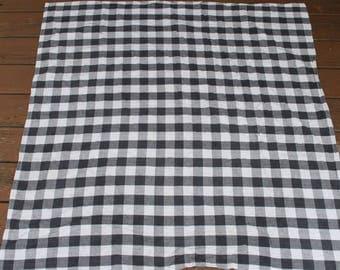 Black and White Gingham Checkered Table Runner Tablecloth Black Check Table Runner Table Top - 48x48  - Square