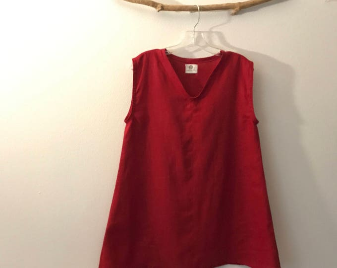 size S or M crimson red linen top ready to wear