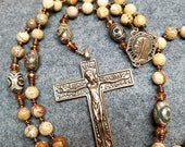 SALE Warm Picture Jasper Rosary Unique Crucifix d Catholic Nepalese Gift HeartFelt Rosaries