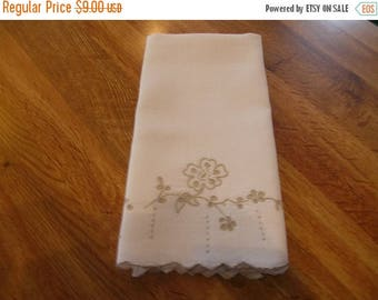 50% OFF SALE Vintage Linen Madeira Embroidery Hand Guest Towel