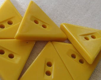 Set of 6 Small VINTAGE Triangle Yellow Casein BUTTONS