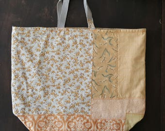 Patchwork Market Tote Project Bag Reusable Repurposed Fabric Collage One of a kind