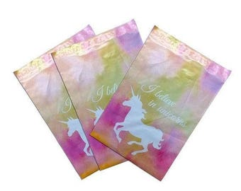 New Years Sale 25 Pack Tear Proof Unicorn Design Plastic Poly Mailing Self Stick Closing Envelopes  6X9 Inches