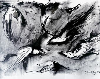 Crow art - A3 - 16x12in  - abstract bird painting - abstract raven pattern