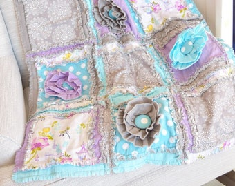 Baby Rag Quilts Baby Girl Bedding - Turquoise / Gray / Purple Baby Bedding - Floral Crib Bedding - Crib Bedding Girl - Whimsical Nursery