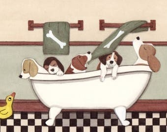 Beagles fill tub at bath time / Lynch signed folk art print