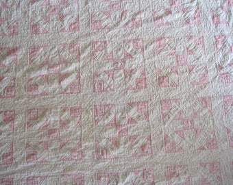 Vintage  1950 Patchwork QUILT Homemade Hand Stitched Full Size Bed 25-Block Primitive Pink & White
