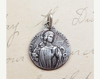 ON SALE Small St Martha Medal - Patron of homemakers & chefs - Antique Reproduction