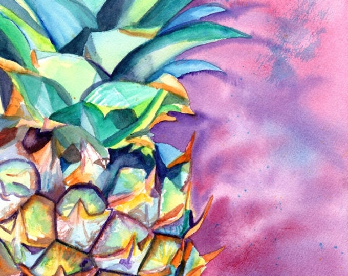 pineapple original watercolor painting from kauai hawaii hawaiian paintings purple green tropical fruit interior decor fine art pineapples