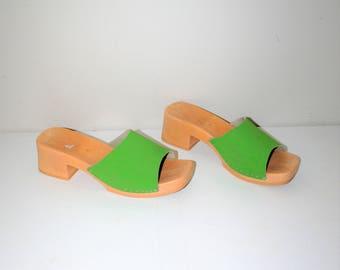 lime green clog mules 1970s vintage citrus colored slip on clogs slides size 7