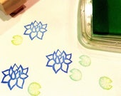 Lotus rubber stamp set//Lotus flower and lily pad set//hand carved and hand crafted