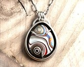 Sterling silver Fordite necklace, Detroit Agate jewelry, gift for wife or girlfriend, gemstone statement necklace