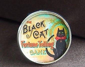 ON SALE Black Cat Fortune Teller Game Vintage Art Glass Top Ring Statement Ring Adjustable Ring