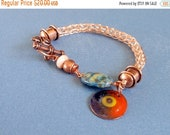 Half Price One week sale Copper Viking Knit Bracelet with Charms