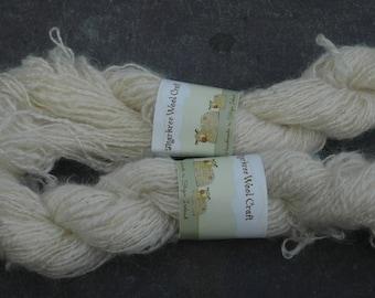 Pure Mohair,  Hand Spun Natural White fine yarn 2 ply   50 grams