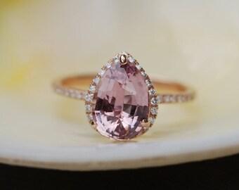 Peach sapphire engagement ring. Rose gold engagement ring 2.44ct pear cut sapphire diamond ring. Engagement ring by Eidelprecious
