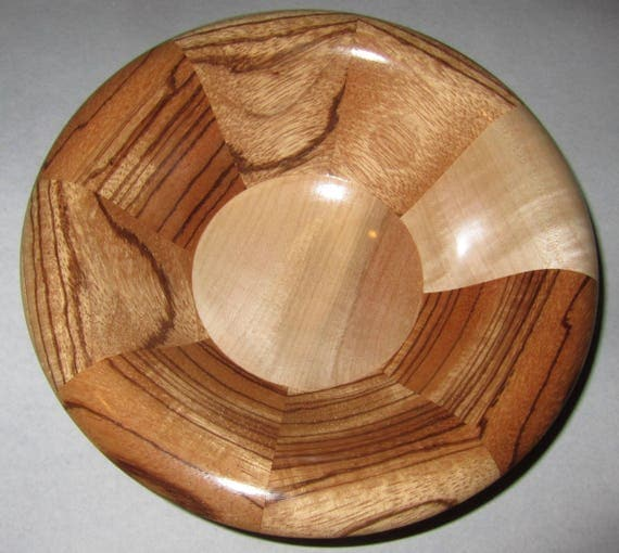"Turned Wood Segmented Bowl – ""I Got This"" – Segmented Design with Zebrawood and Curly Maple 38-17"