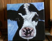 Canvas print of an original acrylic painting. Lucille, cow, farm, country, primitive painting 8 x 8