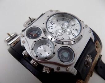 Steampunk watch. Steampunk leather cuff watch. Biker watch.