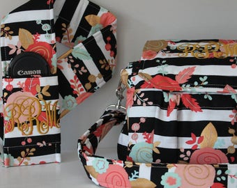 Custom Made to Order Medium Size Padded Digital Camera Bag & Strap Cover White Black Stripes Floral Rose Canon Nikon 55mm or 300mm Lens
