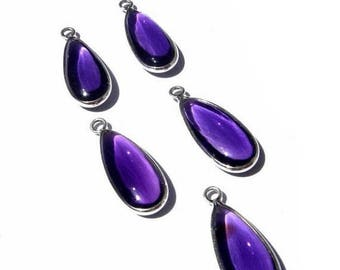 Sale 45% off Matched Pair Sterling Silver and AAA Amethyst Quartz Smooth Pear Shaped Bezel Connector Size 30x12mm - 2 Pcs