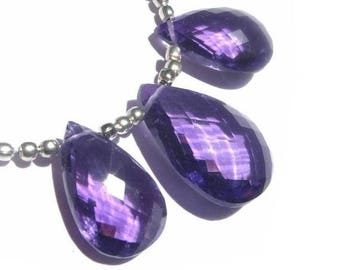 50% Off Sale 3Pc set of AAA Amethyst Faceted Pear Shaped Briolettes 16x11 - 19x14mm approx