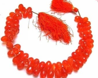 50% Off Sale 1/2 Strand - Finest Quality Carnelian Micro Faceted Drop Briolettes Size 9x6 to 11x7 mm Finest Quality, Natural Stone Wholesale