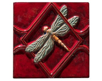 """Dragonfly Ceramic Tile in Red & Sea Green Glazes  (6"""" x 6"""")"""