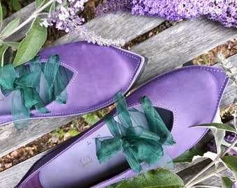UK 7, Handmade Womens Leather Fairytale Shoes, QUEENIE #3363 Violet