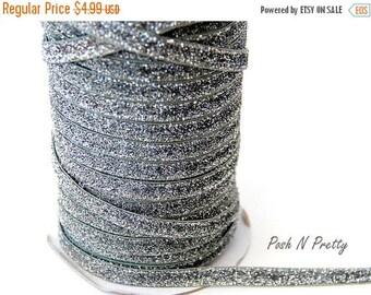 20% OFF EXP 06/30 3/8 Glitter Stretch Velvet Elastic 5 YARDS - No Flake - Silver