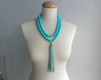 Mint tassel statement necklace, chunky mint multistrand tassel necklace