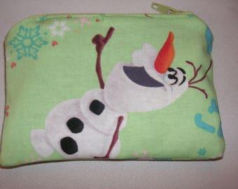 Princess Olaf Snowman Frozen Cartoon handmade zipper fabric coin change purse card holder