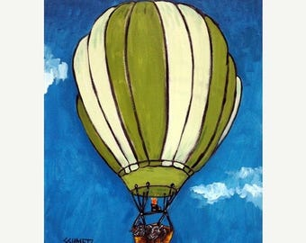 20% off storewide Pot Bellied Pig in a Hot Air balloon Animal  Art Print