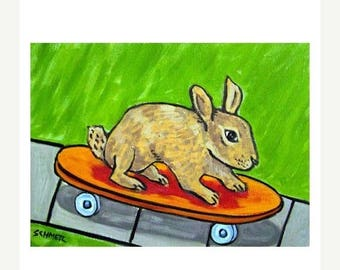 20% off storewide Bunny Rabbit Skateboarding Animal Art PRINT 11x14 JSCHMETZ modern abstract folk pop art american ART gift