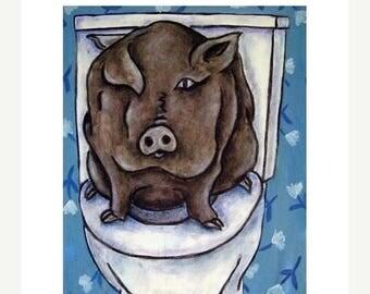 20% off storewide Pig in the Bathroom Animal Art Print